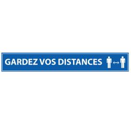 Adhésif de marquage au sol - Gardez vos distances - 700x100mm - bleu ou orange