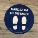 Adhésif de marquage au sol Gardez vos distances+PIED - rond 300mm