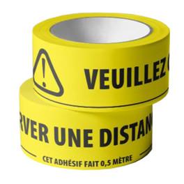 Adhésif de marquage au sol -Veuillez conserver une distance d'1,5m - jaune fluo