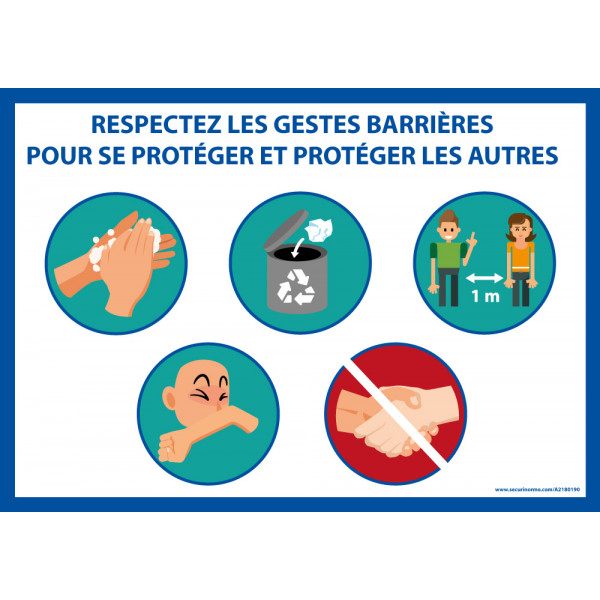 """Panneau """"Respectez les gestes barrière"""" + 5 images"""