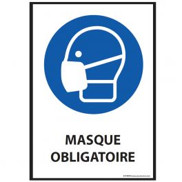 Panneau - Masque obligatoire - M016 ISO EN 7010 - format portrait