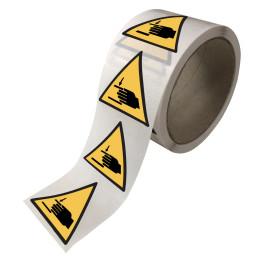 """Rouleau de Pictogrammes de Danger ISO 7010 """"Écrasement des mains"""" W024"""