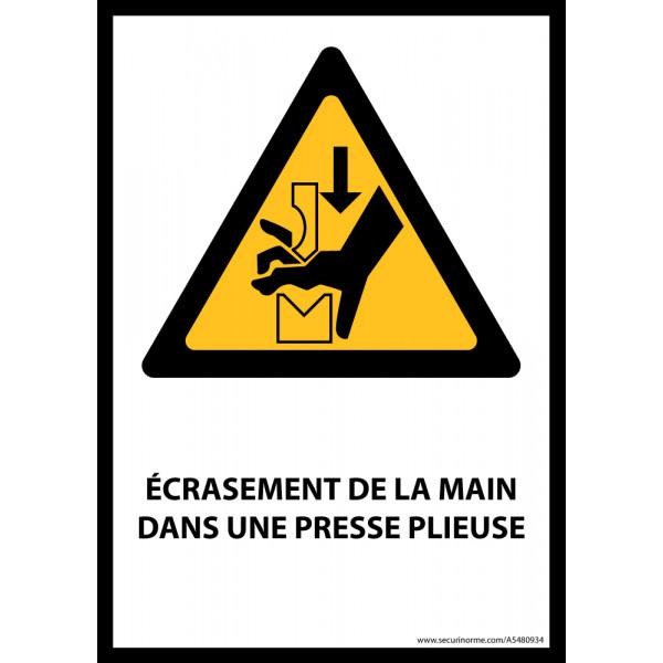 Panneau ISO EN 7010 - Écrasement de la main dans une presse plieuse - W030 - Vinyle - A5