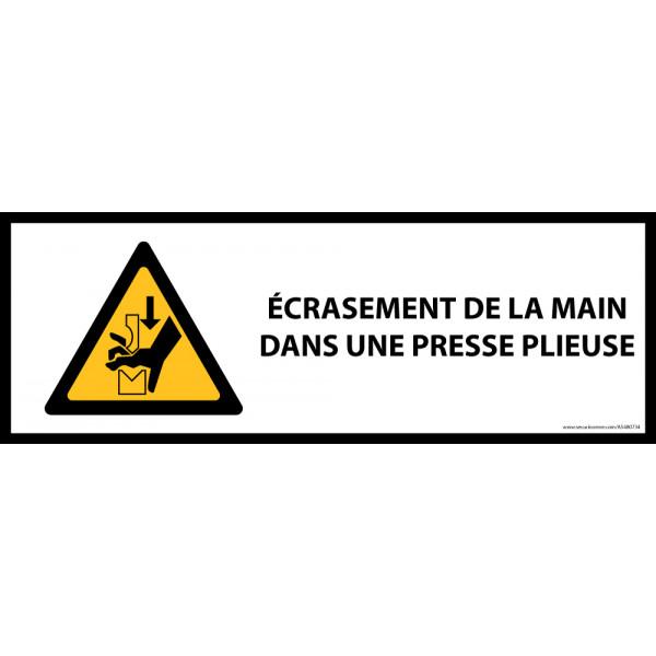 Panneau de danger ISO EN 7010 - Écrasement de la main dans une presse plieuse - W030
