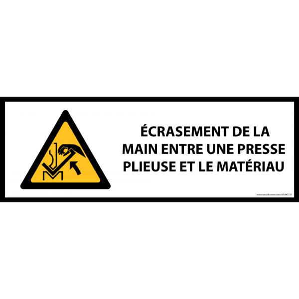 Panneau de danger ISO EN 7010 - Écrasement de la main entre une presse plieuse et le matériau - W031