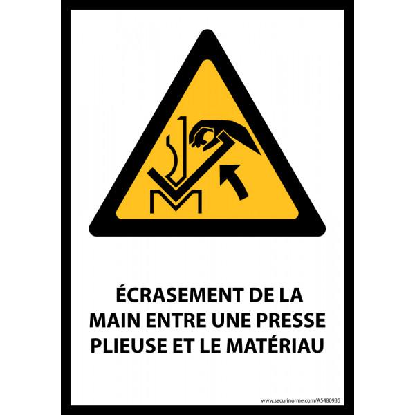 Panneau ISO EN 7010 - Écrasement de la main entre une presse plieuse et le matériau - W031