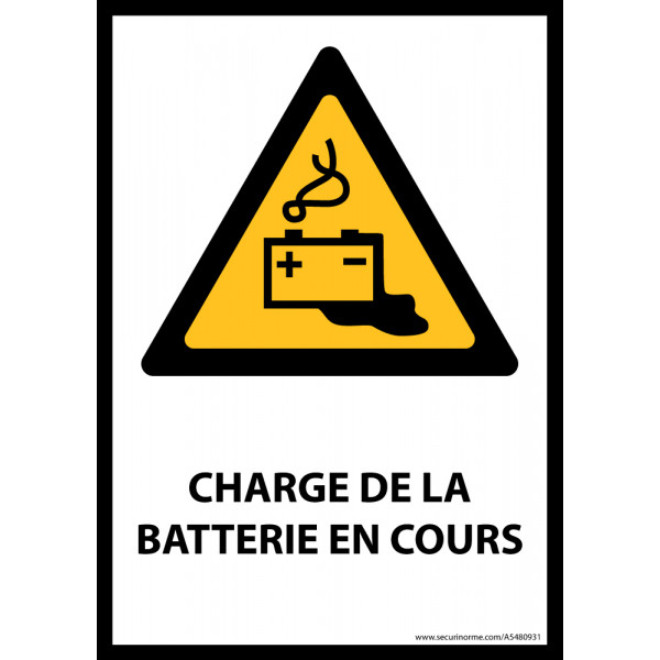Panneau ISO EN 7010 - Charge en cours de la batterie - W026