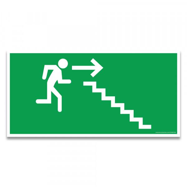"""Panneaux d'évacuation et de secours """"Homme qui descend l'escalier, flèche à droite"""""""