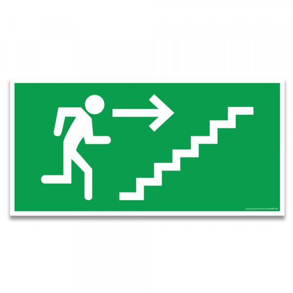 """Panneaux d'évacuation et de secours """"Homme qui monte l'escalier, flèche à droite"""""""