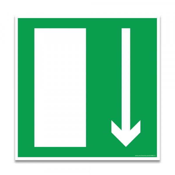 """Panneaux d'évacuation et de secours carré """"Issue de secours, flèche directionnelle en bas ou en haut"""""""