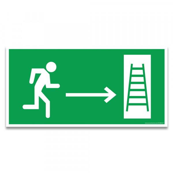 """Panneaux d'évacuation et de secours """"Homme qui court, flèche à droite, échelle de secours"""""""