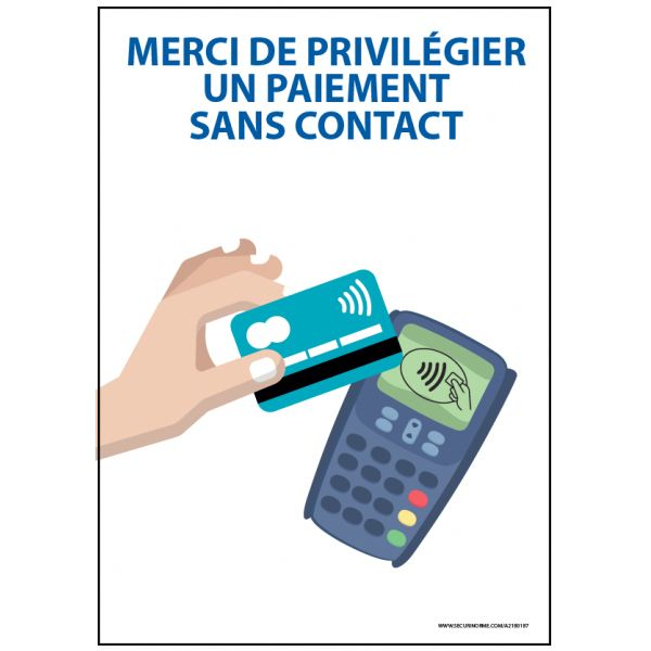"""Panneau """"Merci de privilégier un paiement sans contact"""" - A6- A5 - Autocollant ou Panneau"""