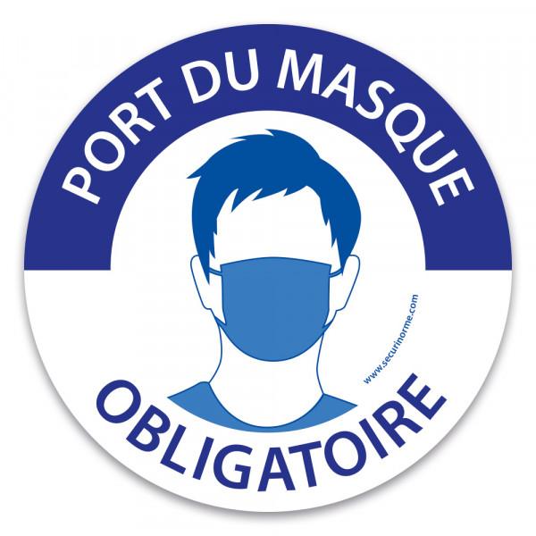 """Pictogramme """"Port du masque obligatoire"""" - bleu et blanc"""