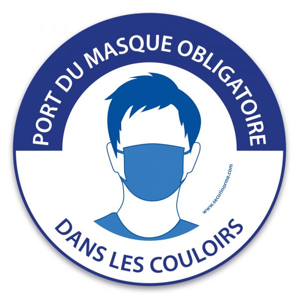 """Panneau """"Port du masque obligatoire dans les couloirs"""""""