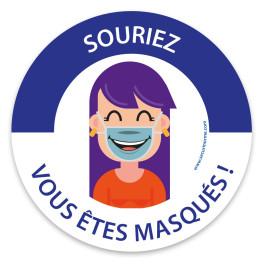 """Panneau masque obligatoire """"Souriez, vous êtes masqués"""""""
