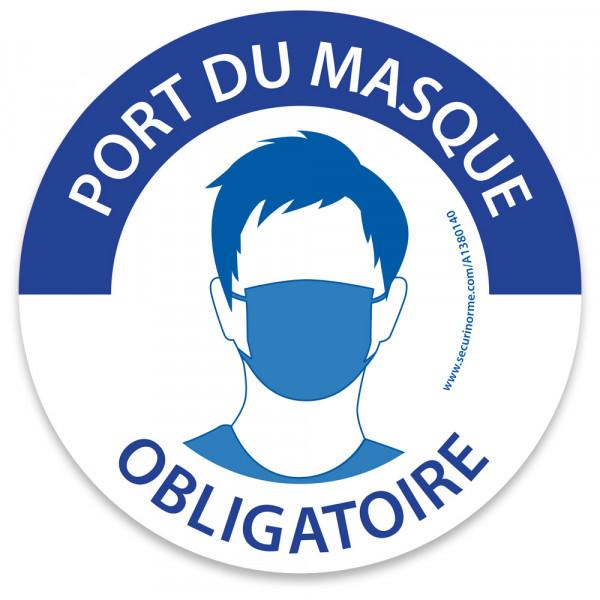 """Marquage au sol rond """"Masque obligatoire"""" bleu et blanc"""