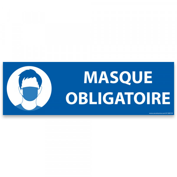 "Marquage au sol ""Masque obligatoire"" bleu - 30 x 10 cm"