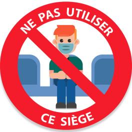 """Adhésif """"Ne pas utiliser ce siège"""" en couleurs"""