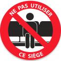 """Adhésif """"Ne pas utiliser ce siège"""" noir"""