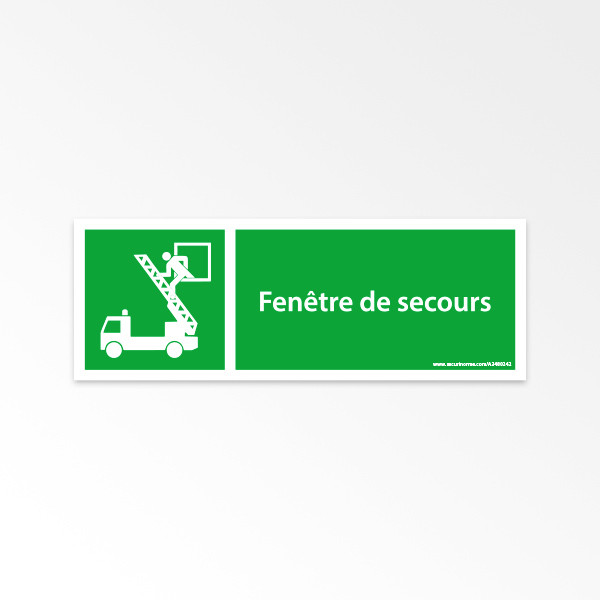Panneaux ISO 7010 d'évacuation à message horizontal - Fenêtre de secours - E017