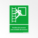 Panneaux ISO 7010 d'évacuation - Fenêtre de secours avec échelle de secours - E016