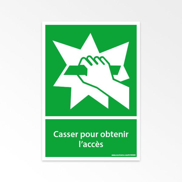 Panneaux ISO 7010 d'évacuation à message vertical - Casser pour obtenir l'accès - E008