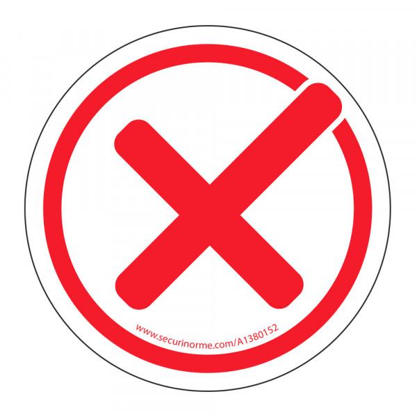 """Panneau """"coche rouge"""" interdiction - adhésif"""