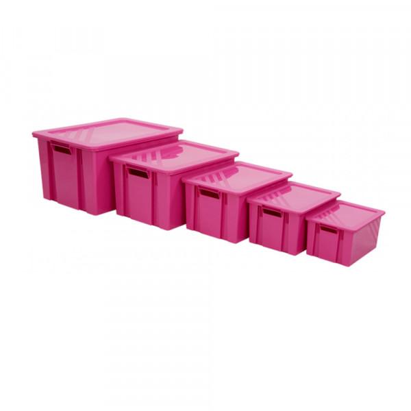 Lot de bacs empilables rose avec couvercles - 6 à 54 litres