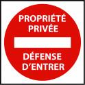 Panneau de circulation Propriété privée défense d'entrer - Plat carré Aludibond 250 x 250 mm