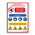 Panneau consignes de sécurité chantier