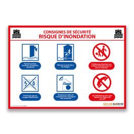 Panneau consignes de sécurité risque d'inondation