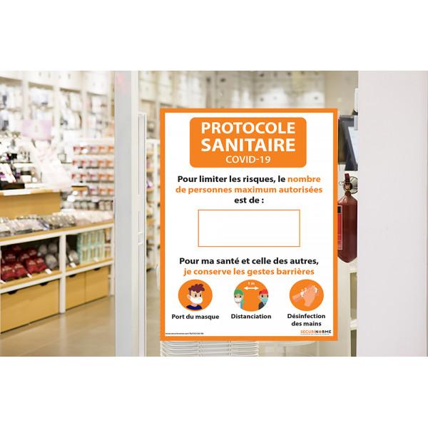 Affiche adhésive - Nombre de personnes maximum autorisées - A3 et A4 orange
