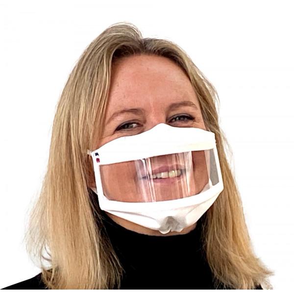 Masque inclusif fenêtre bord à bord réglable - Blanc - homologué UNS1 et UNS2