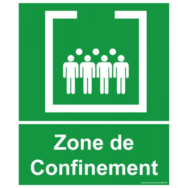 Panneau et autocollant Zone de confinement avec texte
