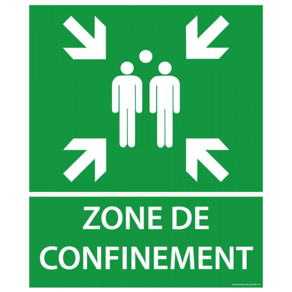Panneau et autocollant Zone de confinement avec texte et flèches