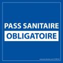 Sticker sanitaire Pass Sanitaire Obligatoire vinyle - 125 x 125 mm - fond bleu