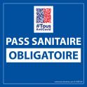 Sticker sanitaire Pass Sanitaire Obligatoire vinyle avec image QR code - 125 x 125 mm - fond bleu