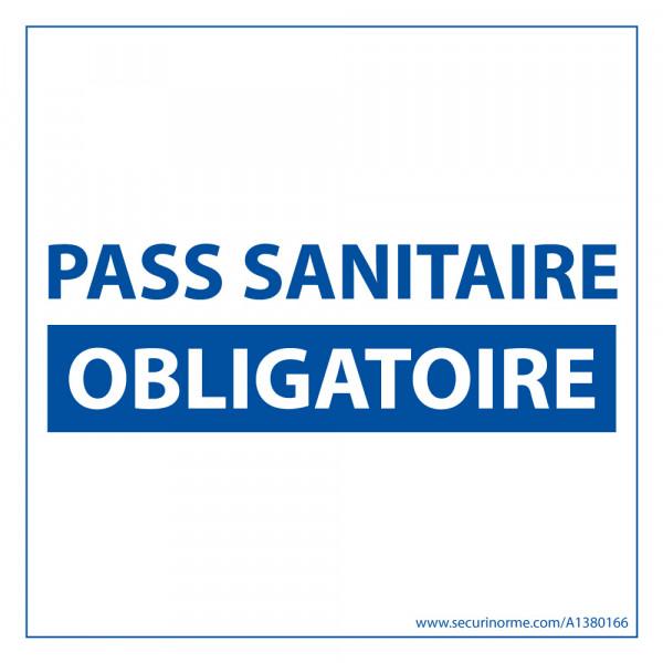 Sticker sanitaire Pass Sanitaire Obligatoire vinyle - 125 x 125 mm - fond blanc