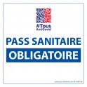 Sticker sanitaire Pass Sanitaire Obligatoire vinyle avec image QR code - 125 x 125 mm - fond blanc