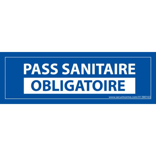Sticker sanitaire Pass Sanitaire Obligatoire vinyle - 150 x 50 mm - fond bleu