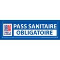 Sticker sanitaire Pass Sanitaire Obligatoire vinyle avec picto QR code - 150 x 50 mm - fond bleu