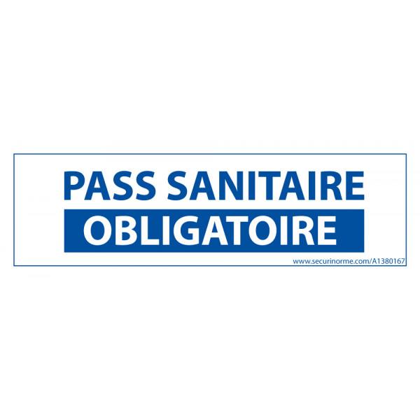 Sticker sanitaire Pass Sanitaire Obligatoire vinyle - 150 x 50 mm - fond blanc