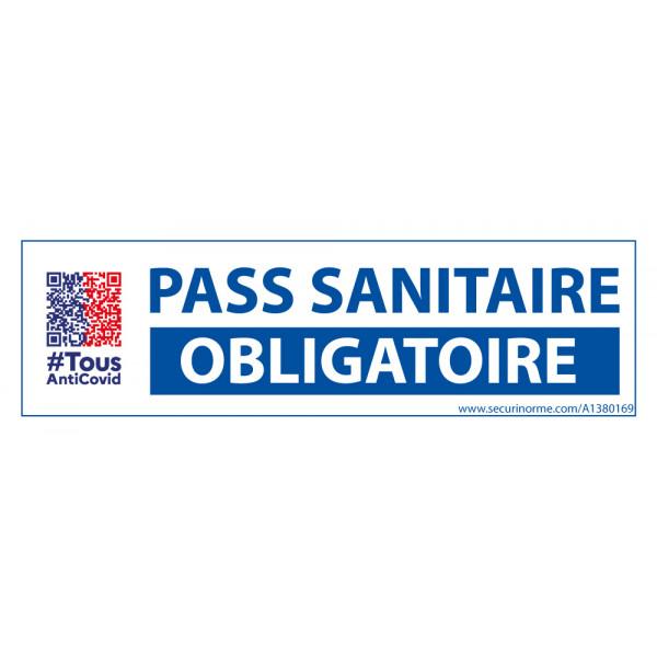 Sticker sanitaire Pass Sanitaire Obligatoire vinyle avec picto QR code - 150 x 50 mm - fond blanc