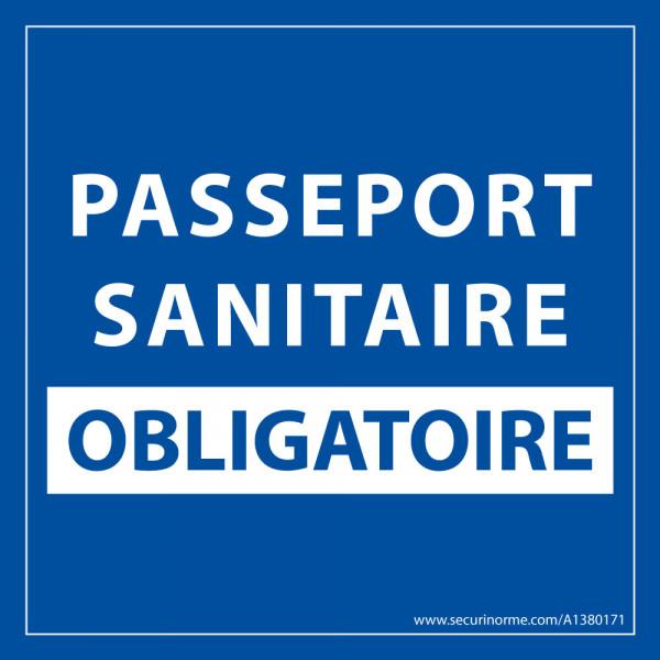 Sticker sanitaire Passeport Sanitaire Obligatoire vinyle - 125 x 125 mm - fond bleu