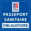 Sticker sanitaire Passeport Sanitaire Obligatoire vinyle avec image QR code - 125 x 125 mm - fond bleu