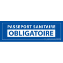 Sticker sanitaire Passeport Sanitaire Obligatoire vinyle - 150 x 50 mm - fond bleu
