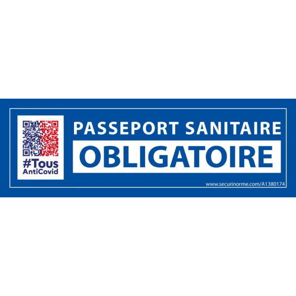 Sticker sanitaire Passeport Sanitaire Obligatoire vinyle avec picto QR code - 150 x 50 mm - fond bleu