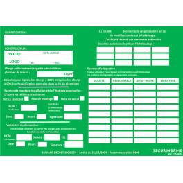 Fiches de vérification échafaudage personnalisées