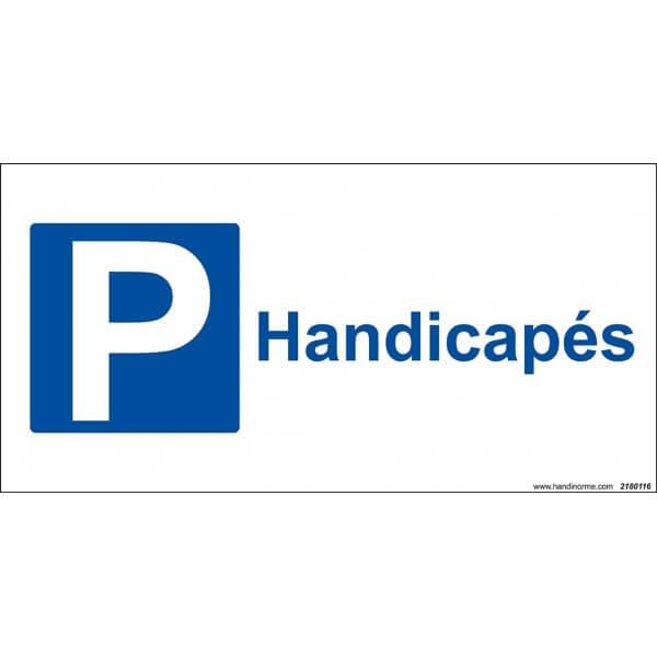 Panneau Parking + texte Handicapé fond blanc