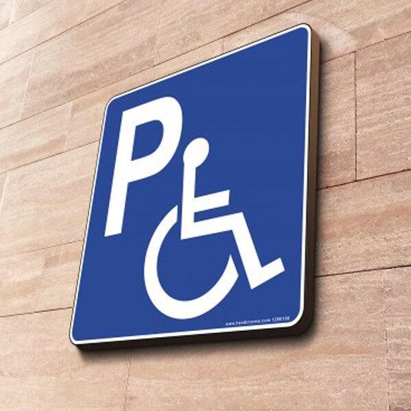 Panneau Parking handicapé à couvre-chant carré